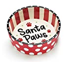 Santa Paws Small Ceramic Pet Food Water Dish Holiday Gift