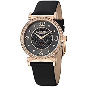 Stuhrling Original Women's 711.04 Audrey Astra Swiss Quartz Diamond Rose Tone Black Leather Strap Watch