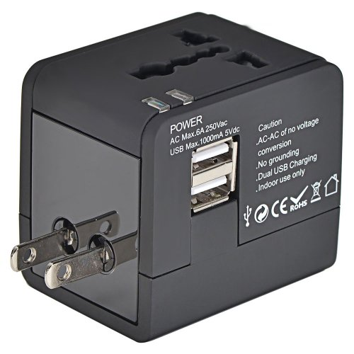 Mudder® US UK EU AU Universal All In One International Travel Power Plug Adapter Charger With 2 Port 1A USB for Cell Phone Black image