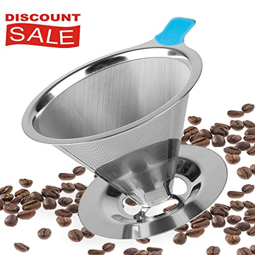 Paperless Pour Over Coffee Dripper - Stainless Steel Permanent Reusable Coffee Filter For Chemex-Hario V60 and other Coffee Makers with Coffee Cup Stand and a FREE Coffee Scoop. (Reusable Chemex Coffee Filter compare prices)