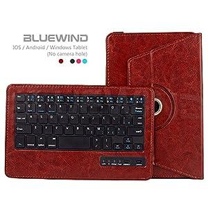 Blue Wind Universal 7-8 Inch 360 Degree Rotatable Tablet Portfolio Leather Case W/ Detachable Bluetooth Keyboard for Samsung Galaxy Note 8.0 / Tab 2 7.0 / Tab 3 7.0 / Tab 4 7.0 / Tab 3 Lite 7 / Tab 3 8.0 / Tab 4 8.0 / Tab Pro 8.4 / Tab S 8.4 / Tab A 8.0 /