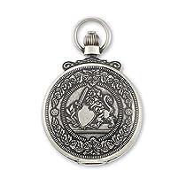Charles Hubert Antique Chrome Finish Lion Crest Pocket Watch