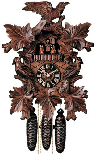 Eight Day Musical Cuckoo Clock with Hand-carved Birds and Leaves