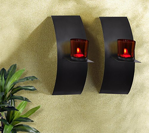 TIEDRIBBONS Decorative Wall Sconce / T Light Holder Holder Pack Of 2(Black, Metal) With T-light Candle