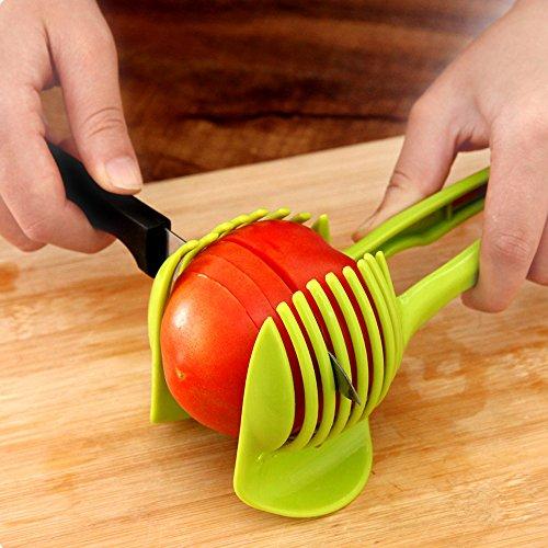 Japace® Tomates, Pommes de Terre, Oignon, Citrons, Légumes et Fruits Trancheuse avec un Support pour Tenir Fermement l'outil, Aide à Trancher pour la Cuisine, Vert