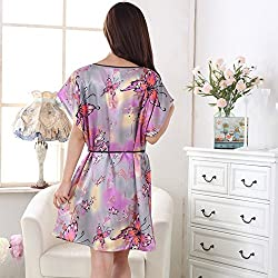 PANGYI Women's Lingerie Kimono Robe Sleepwear Large Colorful butterfly