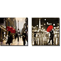 A Paris Stroll & A Paris Kiss by Kate Carrigan 2-pc Premium Gallery-Wrapped Canvas Giclee Art Set (Ready-to-Hang)