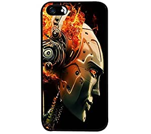 Fuson Premium Robot Music Metal Printed with Hard Plastic Back Case Cover for Apple iPhone SE