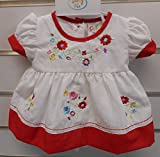 Premature Baby Dress Set With Embroidery 50 cm WhiteRed