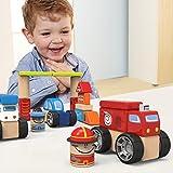 Wood Vehicles Block Set - IPlay, ILearn Wooden City Building Blocks, Wooden Vehicles Block Set