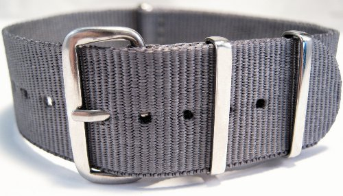 G10 Nato Military Grey Watch Strap Band Steel Buckle 24mm