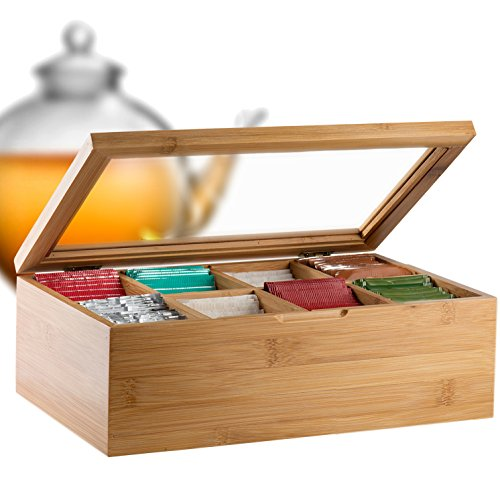 Bambüsi by Belmint 8-Compartment Tea Storage Box with Hinged Lid ✦ Crafted of 100% Natural Bamboo (Clear Lid) (Display Case For Tea compare prices)
