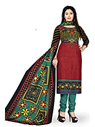 PShopee Brown & Green Printed Cotton Unstitched Salwar Suit Dress Material