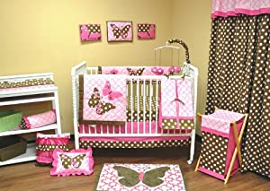 Pink & Brown Butterflies 10 piece Crib Bedding Set