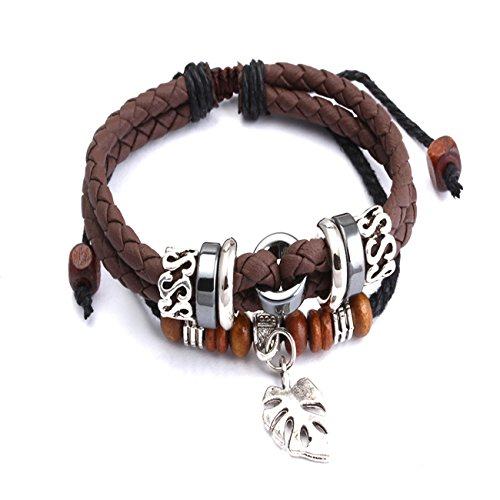 "RUINUO Unisex Handmade PU Leather ""Summon"" Adjustable Marcasite Mix Warp Bracelet for men / women (Brown-Leaf)"