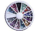 3mm Glitter Jewel Nail Art Tip Decoration Wheel Rhinestone Round With Bonus Mini Balls Nail Decoration Sample