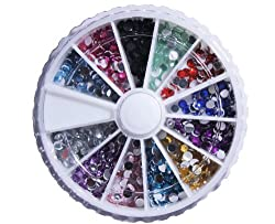 3mm Glitter Jewel Nail Art Tip Decoration Wheel Rhinestone Round With Bonus Mini Balls Nail Decoration Sample