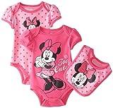 Disney Baby Baby-Girls Newborn Minnie Mouse Bodysuit and Bib 3 Piece Set, Pink, 6 Months