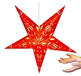 Hanging star lantern without lights - 5 point paper star Red