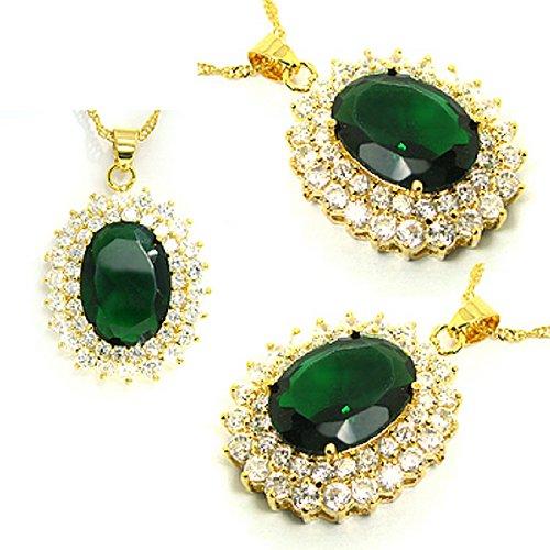 Rizilia Fashion Jewellery Oval Cut Green Emerald Gem Gold Tone Pendant Necklace For Dress