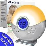 iBoutique® Premium Natural Sunrise Digital Alarm Clock / Dawn Simulator - IBSUN001SW (Soft Silver) - 30-day Money Back Guarantee