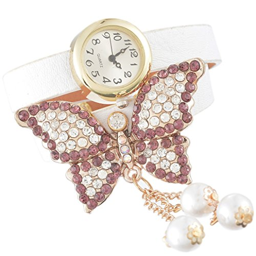 Godagoda White Women Multilayer Wrap Leather Bracelet Quartz Wrist Watch with Butterfly Charm