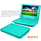 DVD Player, Ematic 9 inch Swivel Teal Portable DVD Player with Matching Headphones and Bag [ EPD909TL ]