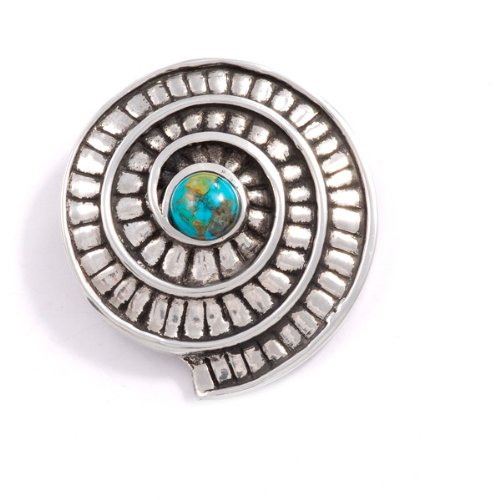 St Justin, Pewter Ammonite Spiral Brooch - Turquoise