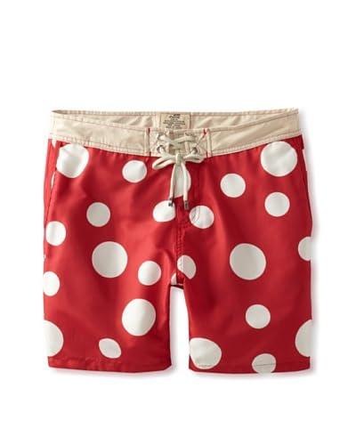 Mr. Swim Men's Polka Dot Trunks  [Red]