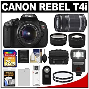 Canon EOS Rebel T4i Digital SLR Camera Body & EF-S 18-55mm IS II Lens with 55-250mm IS Lens + 32GB Card + Flash + Battery + Case + Filters + Remote + Telephoto & Wide-Angle Lenses + Accessory Kit