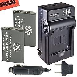 2 NP-BX1 Batteries & Charger for Sony CyberShot DSC-RX1 RX1R DSC-RX100 RX100M II DSC-HX300 HX50V WX300 HDR-AS10 AS15 AS30V HDR-MV1 Digital Camera