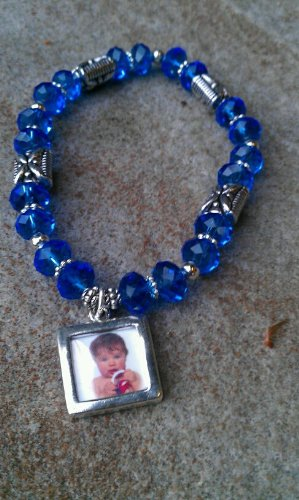 Blue Glass Beaded Photo Charm Bracelet - Item#c18