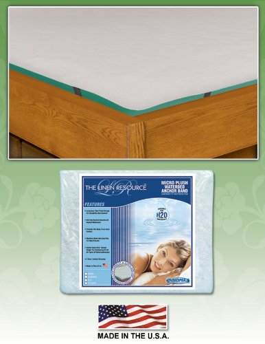 Top Micro Plush Waterbed Anchor Band Contour Fit Mattress Pad by Innomax, King