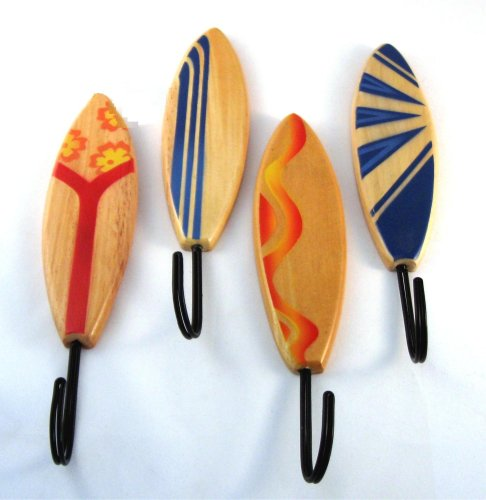 4 Assorted Wood Surfboard Wall Hooks Towels No Problem front-180384