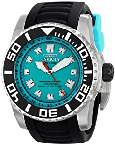 Invicta Pro Diver Men's Quartz Watch with Turquoise Dial  Analogue display on Black Plastic Strap 14662