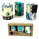 Set Of Three Boxed Hand-Painted Candles - Maji Design