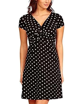 Knielanges Damen Vintage Kleider Kurzarm Polka Dot 1950er Tea fifties Freizeitkleider gepunktet Frauen Schwarz Weiß 48