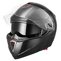 Yescom Full Face Flip up Modular Motorcycle Helmet DOT Approved Dual Visor Motocross Black XL by Yescom