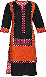 Artisan Women's Cotton Straight Kurta (CZF10008_M, Black & Pink, M)