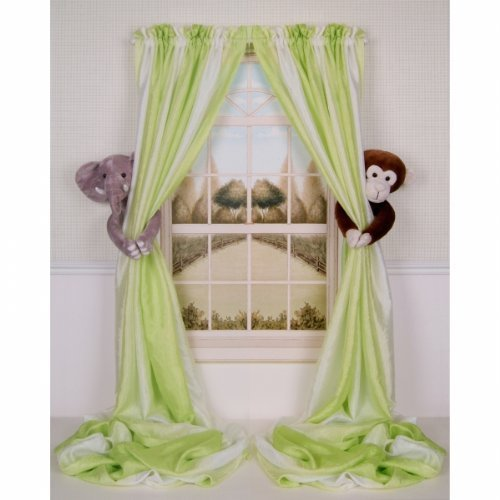 Curtain Critters ALELMY280510COL Plush Safari Elephant and Chocolate Monkey Collector Set - 1