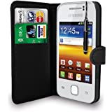 Black Leather Wallet Flip Case Cover Pouch For Samsung Galaxy Y S5360+ Free Screen Protector & Retractable Touch Stylus Pen - Black