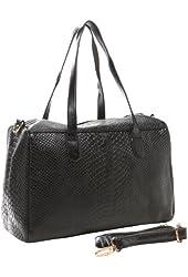 LAILA Black Faux Crocodile Print Top Double Handle Bowling Style Satchel Office Tote Handbag Purse Shoulder Bag
