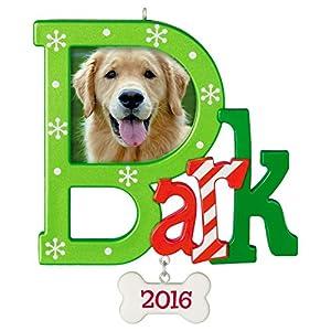 "Hallmark Keepsake 2016 ""Dog Bark"" Dated Picture Frame Holiday Ornament"