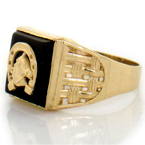 14ct Yellow Gold Onyx Horseshoe Horse Shoe Mens Ring