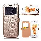 Ceavis IPhone6/Iphone6s ケース 全4色 手帳型ケース カードホルダー付き スタンド機能付き マグネット吸着 (Iphone6s, ゴールド)