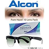Alcon Freshlook One-Day Pure Hazel Color Contact Lenses With Free UV Sunglass (10 Lens Pack) By Visions India(...