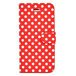 Apexel Combo Polka Dot Leather Wallet Case for iPhone 5/5S - Frustration-Free Packaging - Red