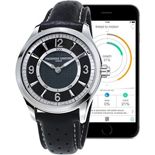 frederique-constant-smartwatch-herren-armbanduhr-43mm-armband-leder-schwarz-batterie-analog-fc-282ab