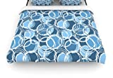 Kess InHouse Julia Grifol Simple Circles in Blue 68 by 88-Inch Woven Duvet Cover, Twin