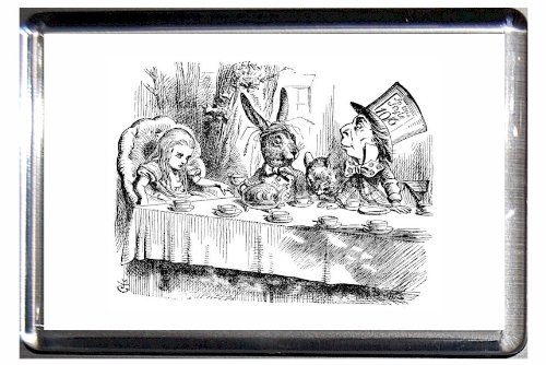 Clear Acrylic Fridge Magnet Alice In Wonderland Tenniel Mad Hatters Tea Party